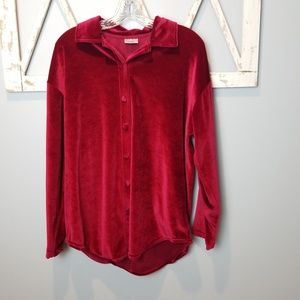 French Laundry red velour button down shirt Medium